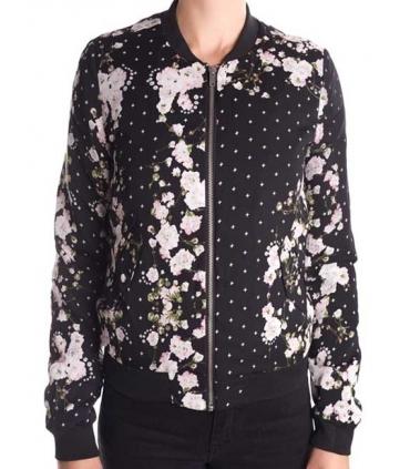 Bomber jacket neagra cu imprimeu floral  - 1