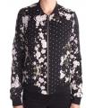 Bomber jacket neagra cu imprimeu floral