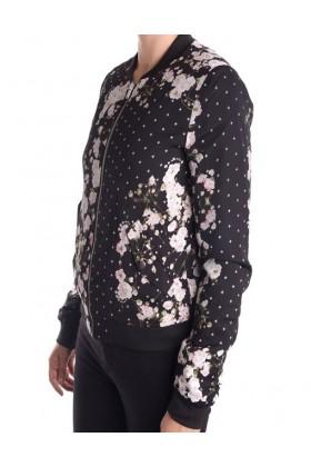 Bomber jacket neagra cu imprimeu floral  - 2