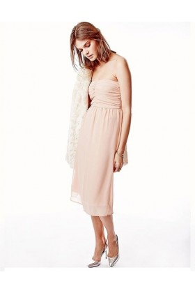 Rochie roz prafuit eleganta, fara bretele, vaporoasa  - 1