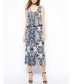 Rochie lunga alba cu imprimeu albastru