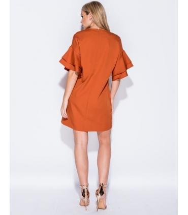 Rochie lejera portocalie cu volanase  - 2