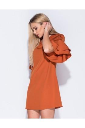 Rochie lejera portocalie cu volanase  - 3