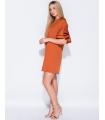 Rochie lejera portocalie cu volanase  - 4