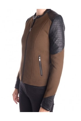 Jacketa maro cu negru stil biker  - 2