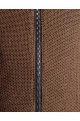 Jacketa maro cu negru stil biker  - 3