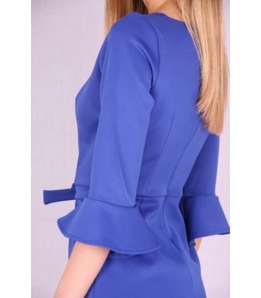 Rochie albastra cu maneci largi si funda  - 5