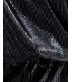 Rochie neagra metalizata, umerii goi, asimetrica  - 6