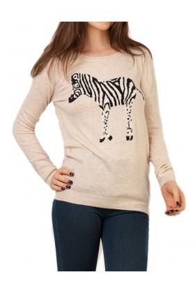 Bluza crem cu zebra  - 1