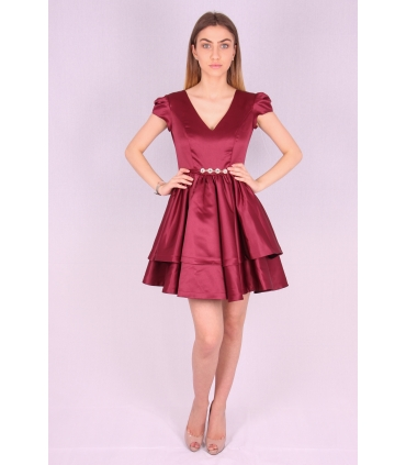 Rochie grena din material satinat  - 1