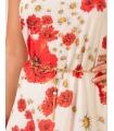 Rochie alba din voal cu imprimeu floral, lantisor auriu in talie  - 3