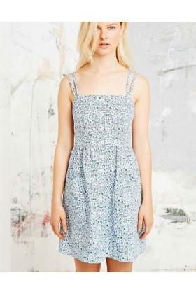 Rochie alba cu imprimeu floral albastru si cu nasturi in partea din fata  - 1