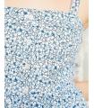 Rochie alba cu imprimeu floral albastru si cu nasturi in partea din fata  - 2