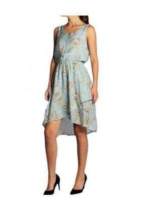 Rochie albastra din voal cu imprimeu floral, croiala asimetrica  - 1