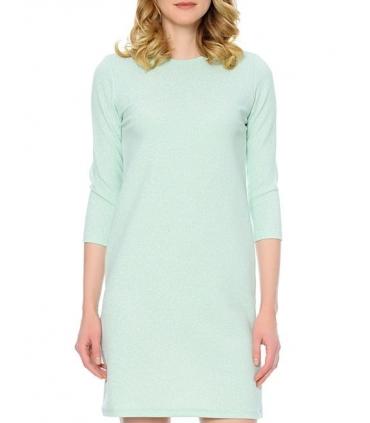 Rochie albastru pastelat, eleganta cu sclipici discret argintiu  - 2