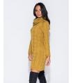 Rochie galben mustar tricotata cu maneci lungi si guler inalt