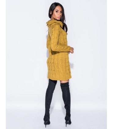 Rochie galben mustar tricotata cu maneci lungi si guler inalt  - 2