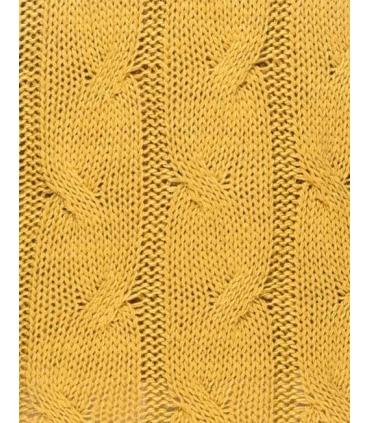 Rochie galben mustar tricotata cu maneci lungi si guler inalt  - 3