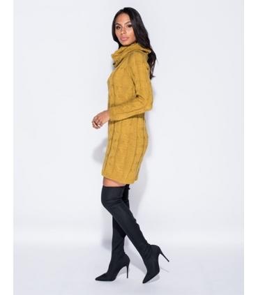 Rochie galben mustar tricotata cu maneci lungi si guler inalt  - 4