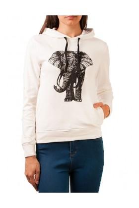 Hanorac alb cu imprimeu elefant  - 1