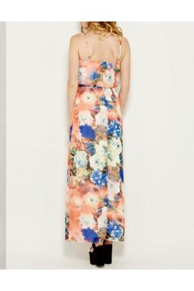 Rochie roz vaporoasa cu imprimeu floral si cu bretele  - 3