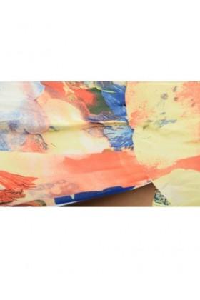 Rochie roz vaporoasa cu imprimeu floral si cu bretele  - 4