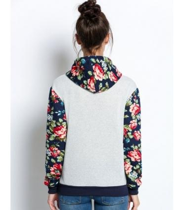 Hanorac gri cu bleumarin si imprimeu floral  - 3