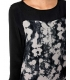 Rochie midi neagra office cu imprimeu floral abstract  - 2
