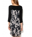 Rochie midi neagra office cu imprimeu floral abstract  - 3
