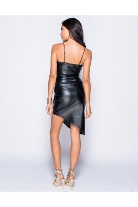 Rochie neagra asimetrica din imitatie de piele si cu bretele  - 1