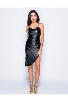 Rochie neagra asimetrica din imitatie de piele si cu bretele  - 2