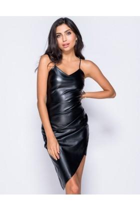 Rochie neagra asimetrica din imitatie de piele si cu bretele  - 3