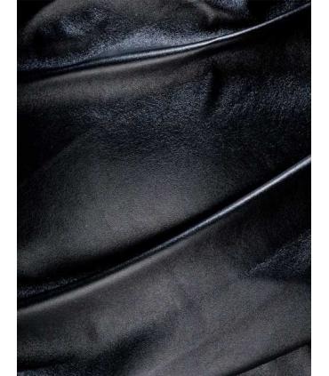 Rochie neagra asimetrica din imitatie de piele si cu bretele  - 6