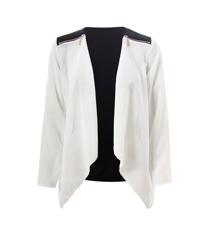 Jacheta din voal alb si negru  - 1