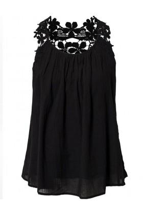 Maieu negru elegant cu bretele din dantela  - 3