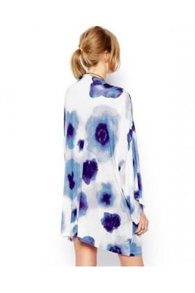 Kimono alb si imprimeu albastru  - 2