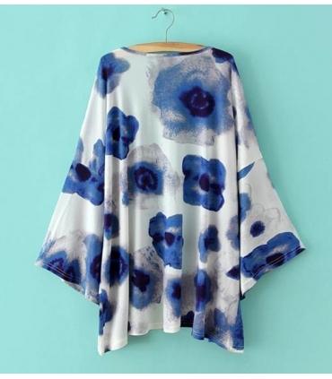 Kimono alb si imprimeu albastru  - 3