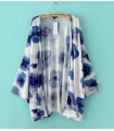 Kimono alb si imprimeu albastru  - 4