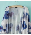 Kimono alb si imprimeu albastru  - 6