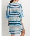 Kimono de plaja alb cu imprimeu albastru  - 3