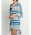 Kimono de plaja alb cu imprimeu albastru  - 4