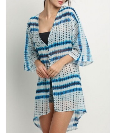 Kimono de plaja alb cu imprimeu albastru  - 5