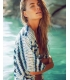 Kimono de plaja alb cu imprimeu albastru  - 6