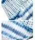 Kimono de plaja alb cu imprimeu albastru  - 8