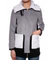 Palton gri cu blanita alba  - 1