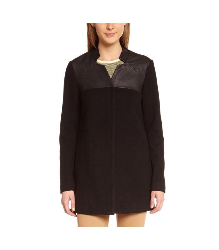Palton negru elegant cu piele ecologica  - 1