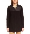Palton negru elegant cu piele ecologica
