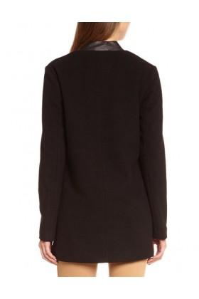 Palton negru elegant cu piele ecologica  - 2