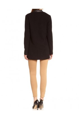 Palton negru elegant cu piele ecologica  - 3