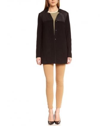 Palton negru elegant cu piele ecologica  - 4